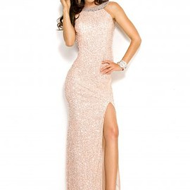 long prom dresses - Scala 48406 Sequin Fitted Sleeveless Halter Gown Online