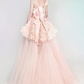 pink silk mikado tulle draped wedding dress