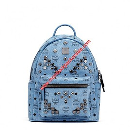 MCM - MCM Small Stark M Studs Visetos Backpack In Washed Blue