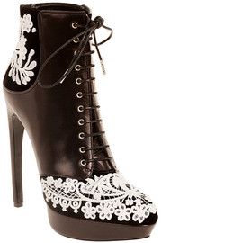 Alexander McQueen - Leather & Embroidered Velvet Lace-Up Ankle Boots