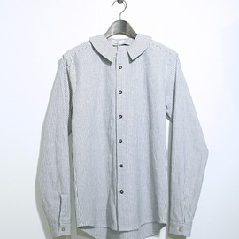 FRANK LEDER - BIG STRIPED COTTON / LINEN SHIRT WITH DETA