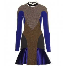 Stella McCartney - DUCHESS SATIN AND TWEED MIXED-MEDIA DRESS