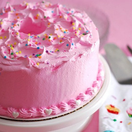Angel cake frosted pink