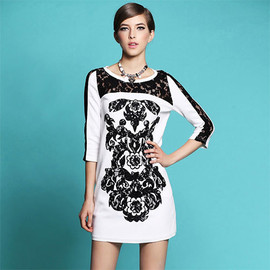 Black and White Embroidered Lace 3/4 Sleeve Shift Dress