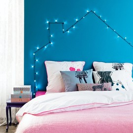 DIY house on the wall with light