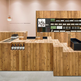 Torafu Architects - Cedar Wood logs, Aesop Grand Front Osaka