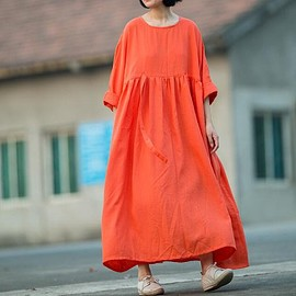 linen dress in orange - linen dress in orange, maxi silk linen dress, pleated dress, plus size dress