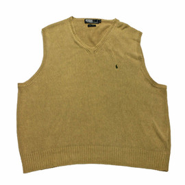 POLO RALPH LAUREN - Vintage Polo by Ralph Lauren Tan Linen/Cotton Sweater Vest Mens Size XL