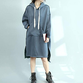 hooded dress - Loose Leisure Cotton hooded asymmetrical dress Winter Women long bottoming dress/ Army Green/ Blue