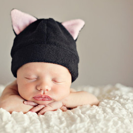 tiedyediva - Fleece Hat Pattern for Baby and Children - Cat