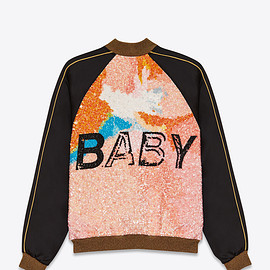 "SAINT LAURENT PARIS - ""BABY"" TEDDY JACKET IN BLACK VISCOSE AND MULTICOLOR SEQUINS"