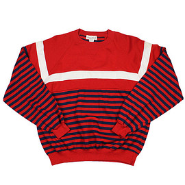 VINTAGE - Vintage 90s Red/White/Blue Striped Sweater Mens Size Small