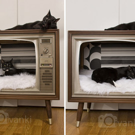 Vintage TV Cat Bed