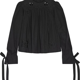 Isabel Marant - Skara broderie anglaise-trimmed cotton-poplin blouse