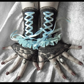 ZenAndCoffee - Powder Room Corset Laced Up Fingerless Gloves - Black Lace - Pale Baby Blue Ruffle & Ribbon - Gothic Victorian Vampire Wedding Rococo EGL