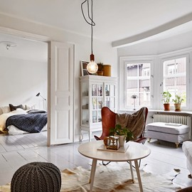 my scandinavian home - A SWEDISH APARTMENT WITH A COSY BED AND GLOSSY GREY FLOOR