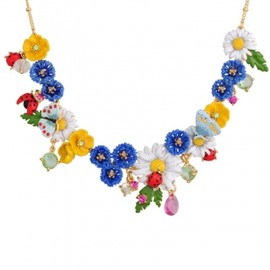 Les Nereides - CHAMPÊTRE NECKLACE WITH VARIOUS FLOWERS, LADYBUG AND BUTTERFLY