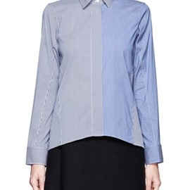 JIL SANDER - Contrast striped cotton-blend shirt