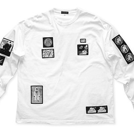 NADA. - Silk print pach Long sleeve tee / White