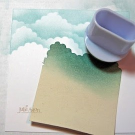 Cloud technique on card by Julia Aston