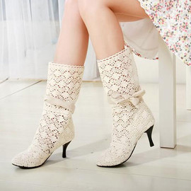 fashion - Hollow out bowknots mid calf boot mesh stiletto shoes pump