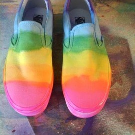 coleydinosaur - Neon Rainbow Vans Slip-on shoes