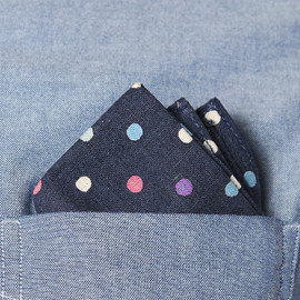 The Hill-Side - FW12 N13 108 Cotton Flax Blend Multi Polka Dot Print Pocket Square