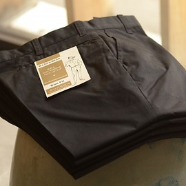 ANATOMICA - TRIM FIT PANTS POPLIN BLACK