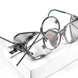 Steampunk Goggles Vintage American Optical Steampunk Glasses BRIGHT SILVER, Mesh Side Shields, Magnifier Loupes TOP Quality from edmdesigns