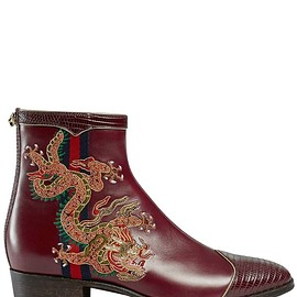 GUCCI - SS2018 30MM PLATA DRAGON LEATHER BOOTS