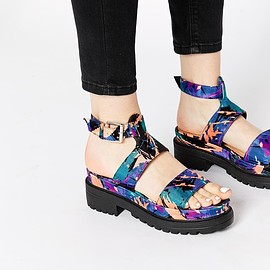 asos - Image 1 ofTruffle Collection Ocean Ankle Strap Chunky Flat Sandals
