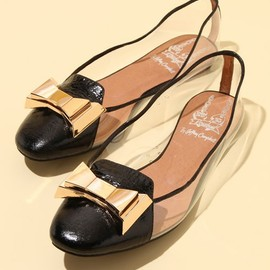 JEFFREY CAMPBELL FOR ROSE BUD - BOW FRONT SEE THROUGH FLAT SHOES