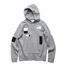 uniform experiment - PATCH WORK PULL OVER HOODY