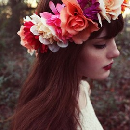 hair - beautiful flowers in her hair
