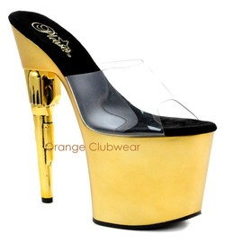 PLEASER - PLEASER Bondgirl-701 Womens Gold Platform Stripper Gun High Heels Dancer Shoes