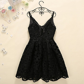 Elegant Solid Color Hollow Out Lace Slim Fit Sling Dress