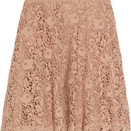 VALENTINO - Flared silk-organza and cotton-lace skirt