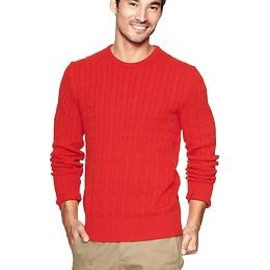 GAP - Cable knit crew sweater Novelty red light