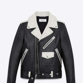 SAINT LAURENT - FW2014 CLASSIC MOTORCYCLE JACKET IN BLACK AND WHITE LEATHER