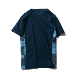 SOPHNET. - INDIGO FABRIC MIX TEE