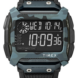 TIMEX - Command Shock 54mm Resin Strap - Black/Grey Camo