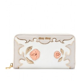 miu miu - LEATHER WALLET WITH APPLIQUÉ