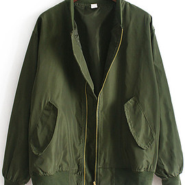Romwe - Stand Collar With Pockets Army Green Jacket