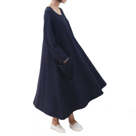 OurLittleDaisy - Dark Blue Long Sleeve Cotton Loose Full- Skirted Dress With Two Big Pockets