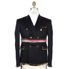 THOM BROWNE - Navy Double Cashmere Blazer with Safety Pin and Studs