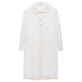 miu miu - Cotton macramé boxy coat with cady trim