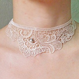 lace choker necklace  cream white black vintage by LaceFancy