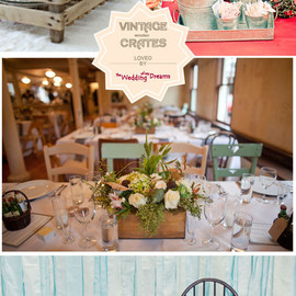 vintage wooden bushel crates wedding tables