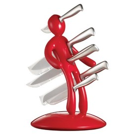 Raffaele Iannello - ナイフスタンドセット 包丁 5本セット レッド Raffaele Iannello 5-Piece Knife Set with Unique Red Holder EXXKR