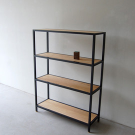 NAUT - 101 | 01_Standard furniture Frame display shelf 2 : W900  D300  H1,220 / Solid ash  oil finish / Steel hardening melamine paint